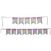 Happy Birthday Tie-Dye & Foil Pennant Banner