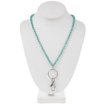 Turquoise Knotted Glass Bead Lanyard