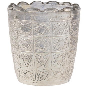 Silver Textured Glass Candle Holder