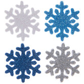 Blue, Silver & White Snowflake Foam Stickers