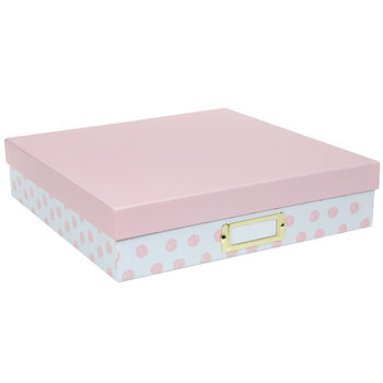 White & Light Pink Polka Dot Storage Box