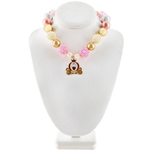 Pink & Gold Chunky Bead Necklace with Carriage