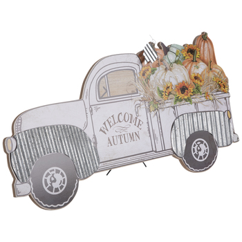 White Welcome Autumn Truck Wood Decor
