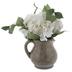White Hydrangea In Crackled Pitcher Arrangement
