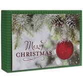 Red Ornament Glitter Christmas Cards