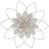 White & Gold Flower Metal Wall Decor