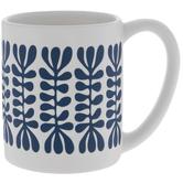 White & Blue Leaf Mug