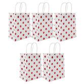 White & Red Foil Polka Dot Gift Bags