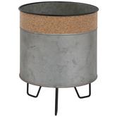 Galvanized Metal Planter With Cork Trim