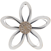 White Flower With Bead Center Wood Wall Decor