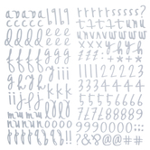 White Heidi Script Alphabet Stickers