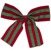 Red & Green Striped Twist Tie Bows
