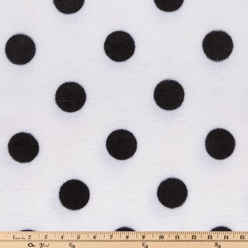 White & Black Polka Dot Velvet Fleece Fabric