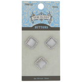 White & Rhinestone Square Shank Buttons - 16mm