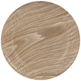 Wood Grain Floral Embossed Metal Plate Charger