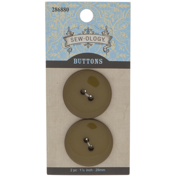 Shiny Olive Green Round Buttons - 28mm