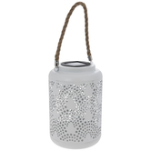 White Light Up Metal Lantern
