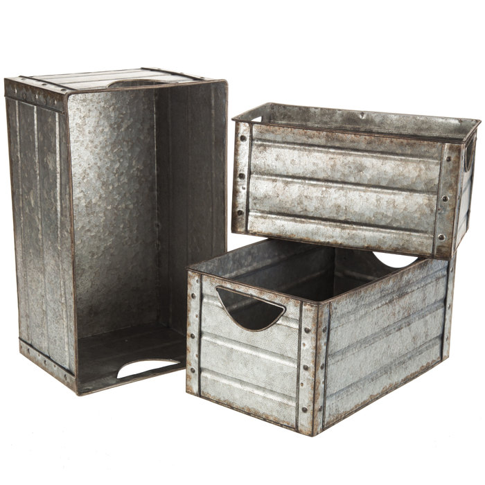 Galvanized Metal Rectangle Container Set Hobby Lobby 1549351