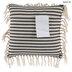 Black & Beige Ticking Striped Fringe Pillow