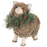 Textured Sheep Wearing Wreath