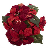 Red Glitter Poinsettia Candle Ring