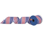 "American Flag Print Wired Edge Ribbon - 2 1/2"""