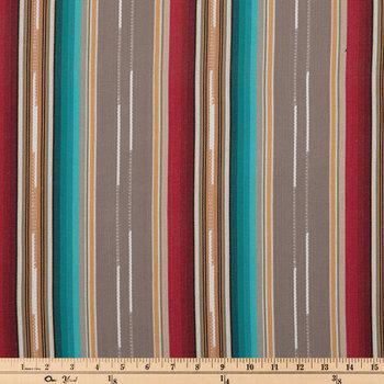 Gray Striped Woven Duck Cloth Fabric
