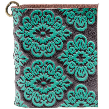 Embossed Turquoise Leather Journal Charm
