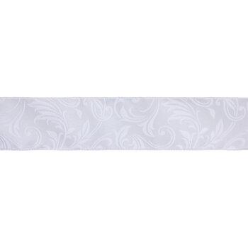 "Flocked Scroll Wired Edge Satin Ribbon - 2 1/2"""