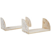 White & Natural Carved Wood Wall Shelf Set