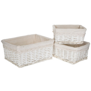 White Lined Willow Basket Set