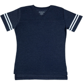Heather Blue & White Baseball V-Neck Adult T-Shirt - 2XL