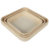 Rounded Square Wood Tray Set