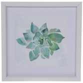 Green Watercolor Succulent Framed Wall Decor