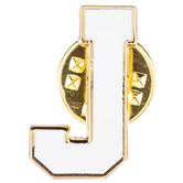 White Letter Metal Pin - J