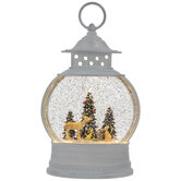 Light Up Forest Lantern Snow Globe