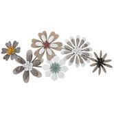 Brown & White Flowers Metal Wall Decor