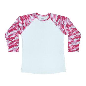 Pink Camo Sleeve Adult Baseball T-Shirt - Extra Small
