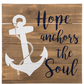 Hope Anchors The Soul Wood Plank Wall Decor