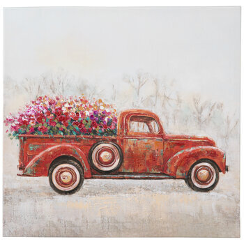 Red Truck With Flowers Canvas Wall Decor