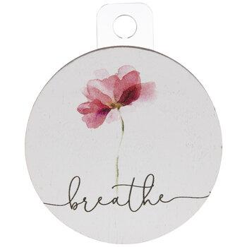 White & Pink Breathe Flower Wood Magnet