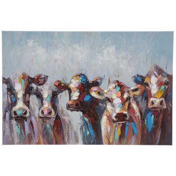 Multi-Color Cow Herd Canvas Wall Decor