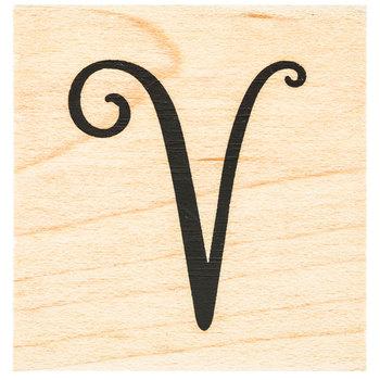 Script Letter Rubber Stamp - V