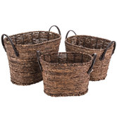 Dark Brown Oval Maize Baskets With Leather Handles Set