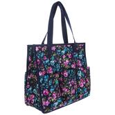 Blue Floral Organizer Tote Bag