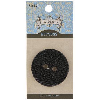 Black Round Wood Grain Button - 38mm