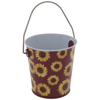 Burgundy & Yellow Sunflower Tin Bucket