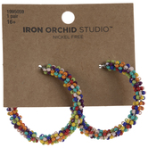 Multi-Color Seed Bead Hoop Earrings