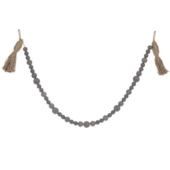Gray Beaded Garland With Tassels