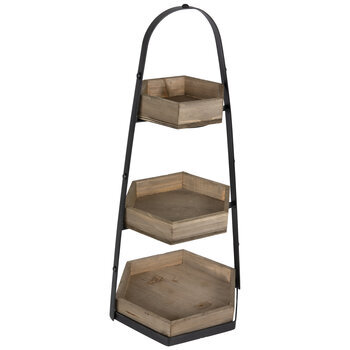 Hexagon Three-Tired Wood Tray